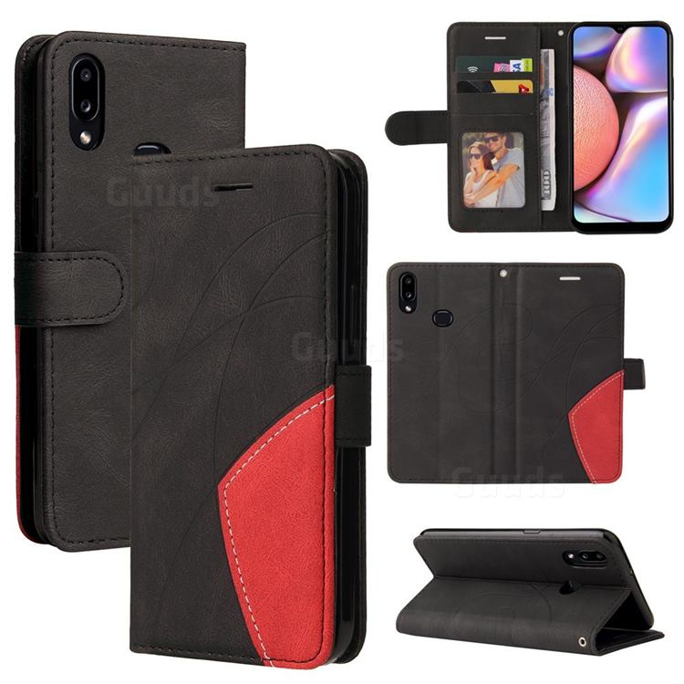 Luxury Two-color Stitching Leather Wallet Case Cover for Samsung Galaxy A10s - Black