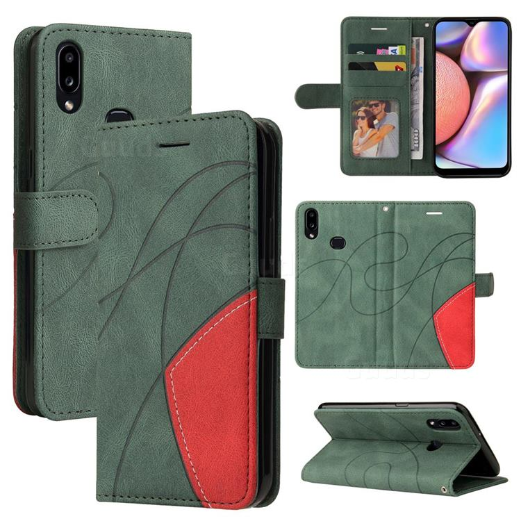 Luxury Two-color Stitching Leather Wallet Case Cover for Samsung Galaxy A10s - Green
