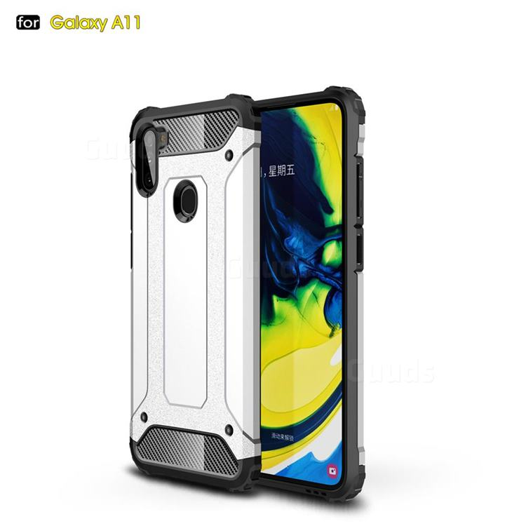 King Kong Armor Premium Shockproof Dual Layer Rugged Hard Cover for Samsung Galaxy A11 - White