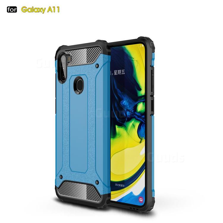 King Kong Armor Premium Shockproof Dual Layer Rugged Hard Cover for Samsung Galaxy A11 - Sky Blue