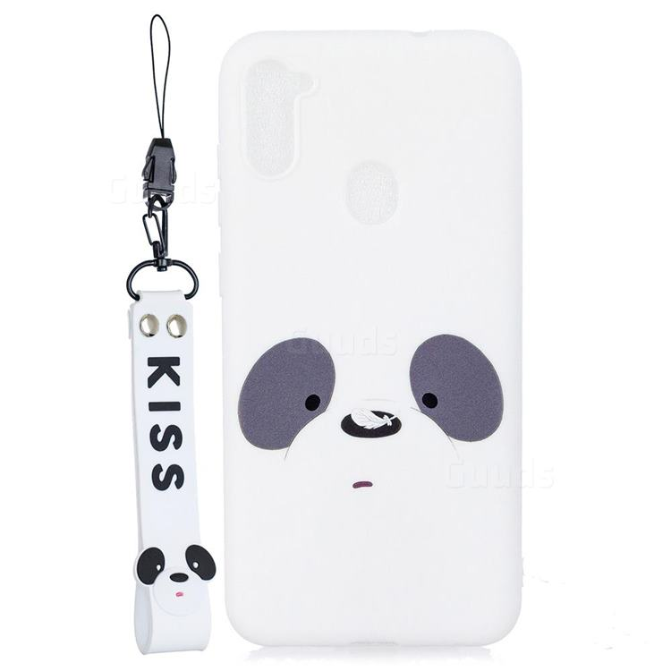 White Feather Panda Soft Kiss Candy Hand Strap Silicone Case for Samsung Galaxy A11