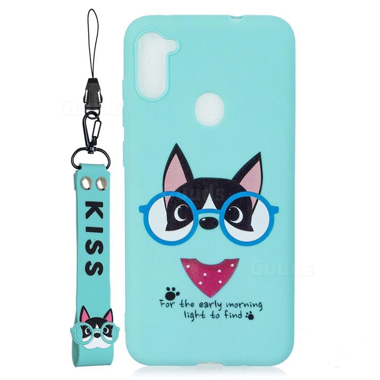 Green Glasses Dog Soft Kiss Candy Hand Strap Silicone Case for Samsung Galaxy A11