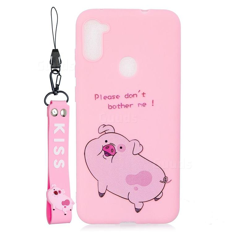 Pink Cute Pig Soft Kiss Candy Hand Strap Silicone Case for Samsung Galaxy A11
