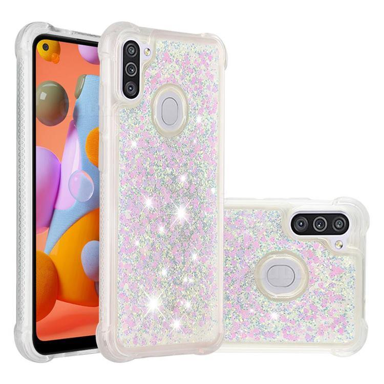 Dynamic Liquid Glitter Sand Quicksand Star TPU Case for Samsung Galaxy A11 - Pink