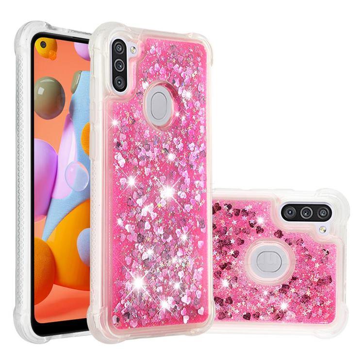 Dynamic Liquid Glitter Sand Quicksand TPU Case for Samsung Galaxy A11 - Pink Love Heart
