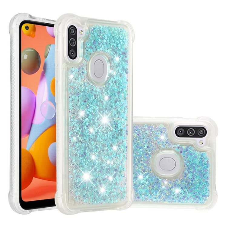 Dynamic Liquid Glitter Sand Quicksand TPU Case for Samsung Galaxy A11 - Silver Blue Star