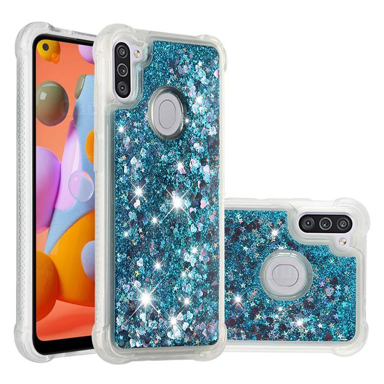 Dynamic Liquid Glitter Sand Quicksand TPU Case for Samsung Galaxy A11 - Blue Love Heart