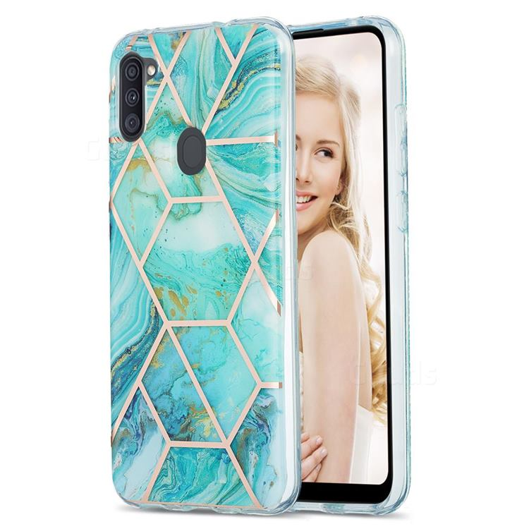 Blue Sea Marble Pattern Galvanized Electroplating Protective Case Cover for Samsung Galaxy A11