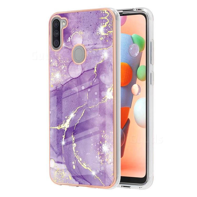 Fashion Purple Electroplated Gold Frame 2.0 Thickness Plating Marble IMD Soft Back Cover for Samsung Galaxy A11