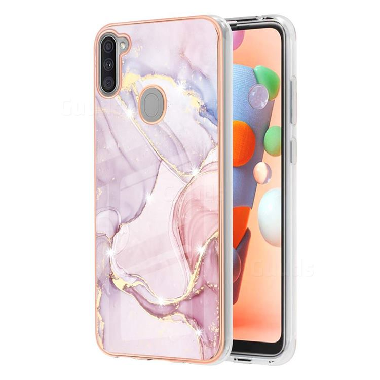 Dream Violet Electroplated Gold Frame 2.0 Thickness Plating Marble IMD Soft Back Cover for Samsung Galaxy A11