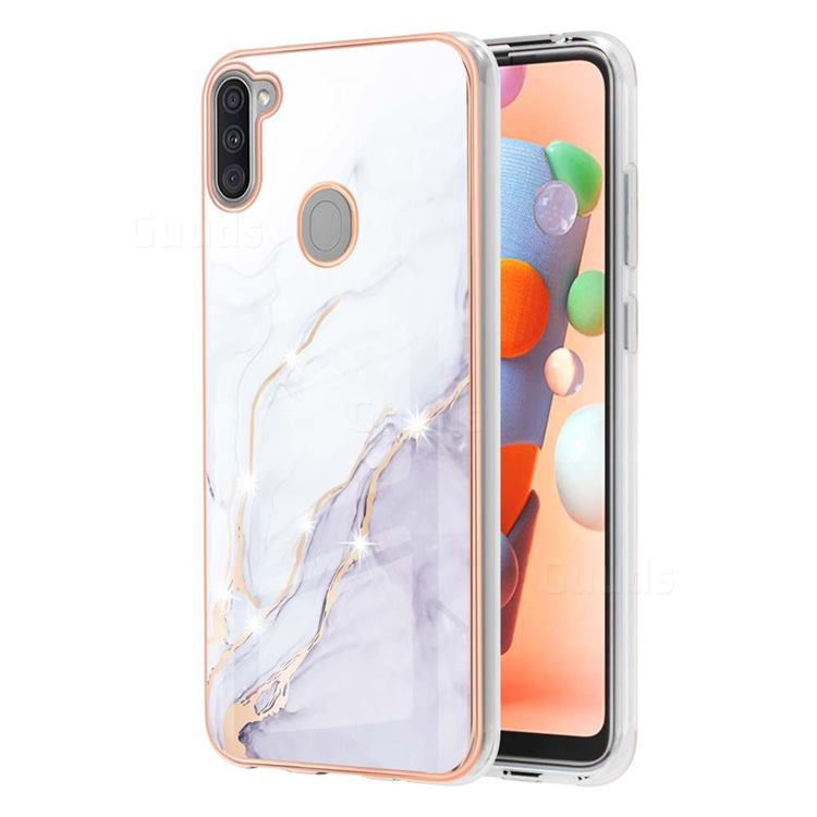 White Dreaming Electroplated Gold Frame 2.0 Thickness Plating Marble IMD Soft Back Cover for Samsung Galaxy A11