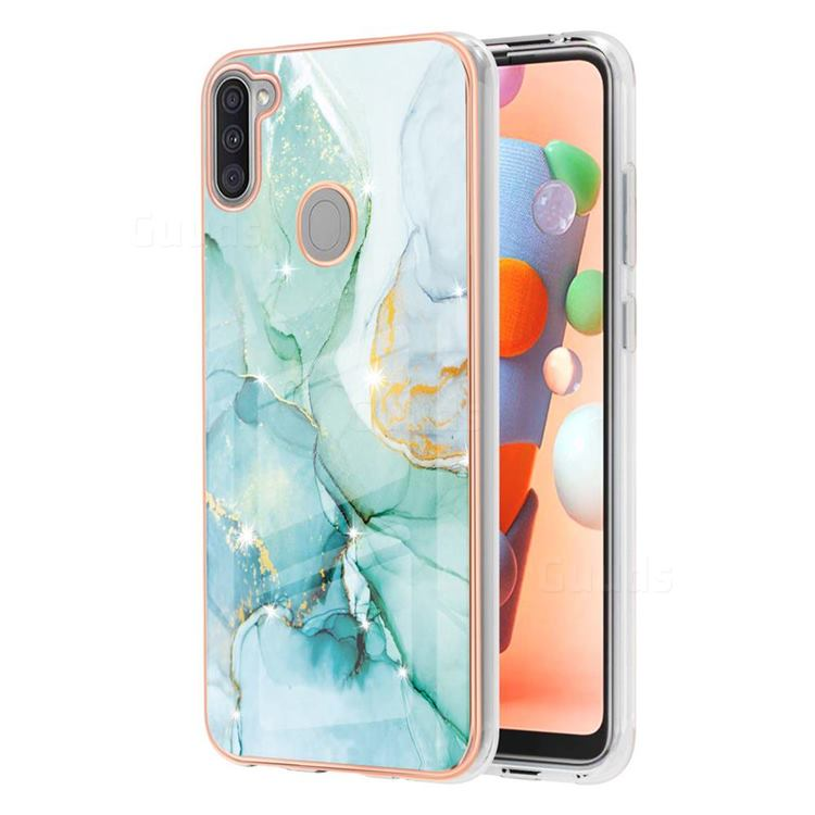 Green Silk Electroplated Gold Frame 2.0 Thickness Plating Marble IMD Soft Back Cover for Samsung Galaxy A11