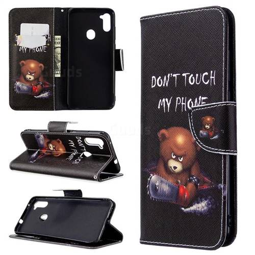 Chainsaw Bear Leather Wallet Case for Samsung Galaxy A11