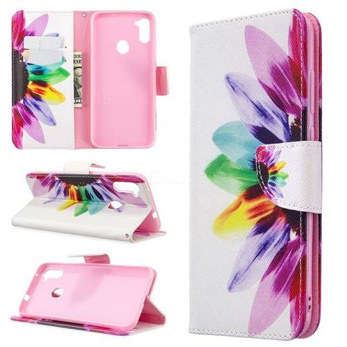 Seven-color Flowers Leather Wallet Case for Samsung Galaxy A11
