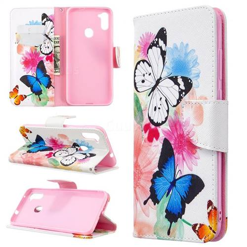 Vivid Flying Butterflies Leather Wallet Case for Samsung Galaxy A11