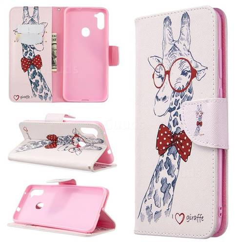 Glasses Giraffe Leather Wallet Case for Samsung Galaxy A11