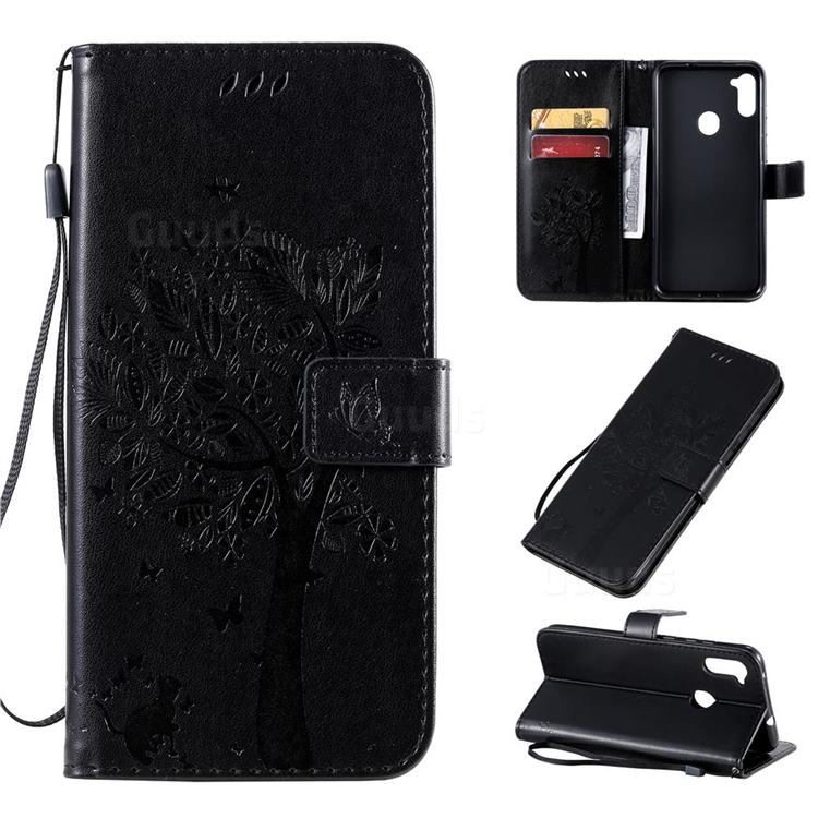 Embossing Butterfly Tree Leather Wallet Case for Samsung Galaxy A11 - Black