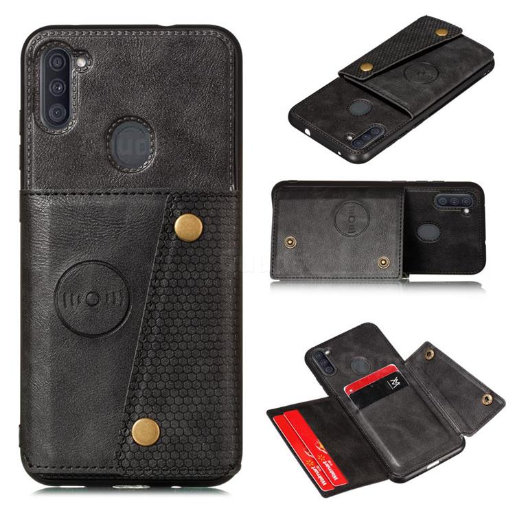 Retro Multifunction Card Slots Stand Leather Coated Phone Back Cover for Samsung Galaxy A11 - Black