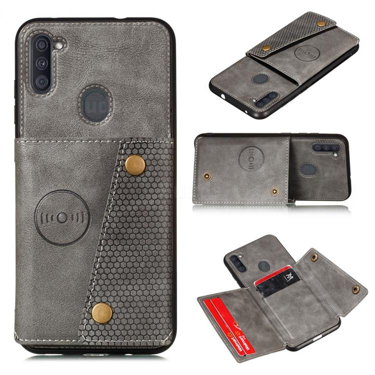 Retro Multifunction Card Slots Stand Leather Coated Phone Back Cover for Samsung Galaxy A11 - Gray