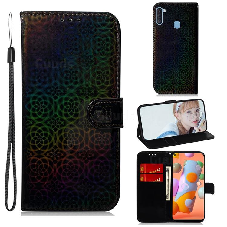 Laser Circle Shining Leather Wallet Phone Case for Samsung Galaxy A11 - Black