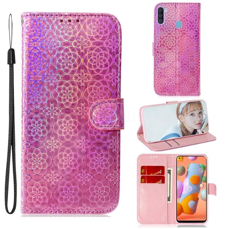 Laser Circle Shining Leather Wallet Phone Case for Samsung Galaxy A11 - Pink