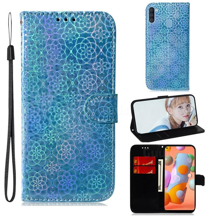 Laser Circle Shining Leather Wallet Phone Case for Samsung Galaxy A11 - Blue