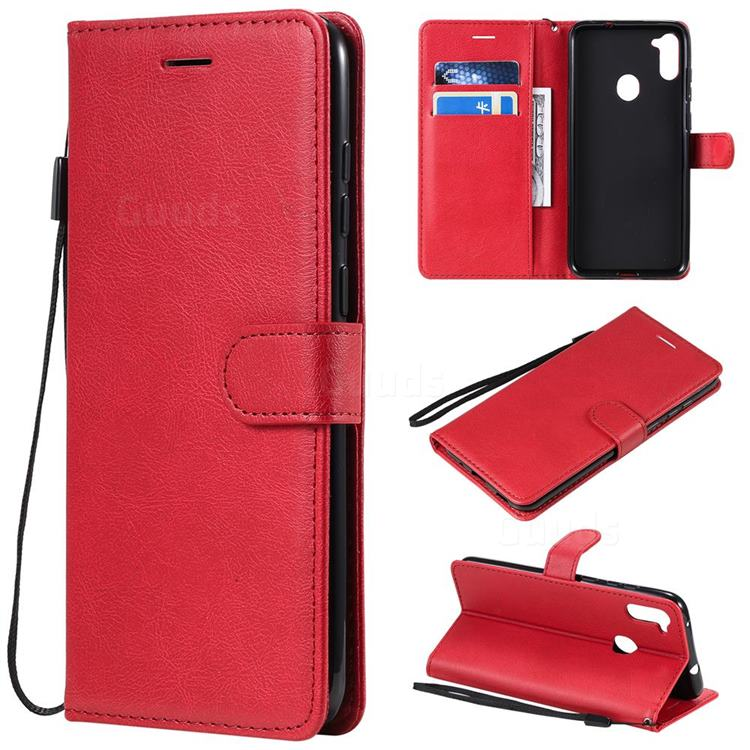 Retro Greek Classic Smooth PU Leather Wallet Phone Case for Samsung Galaxy A11 - Red