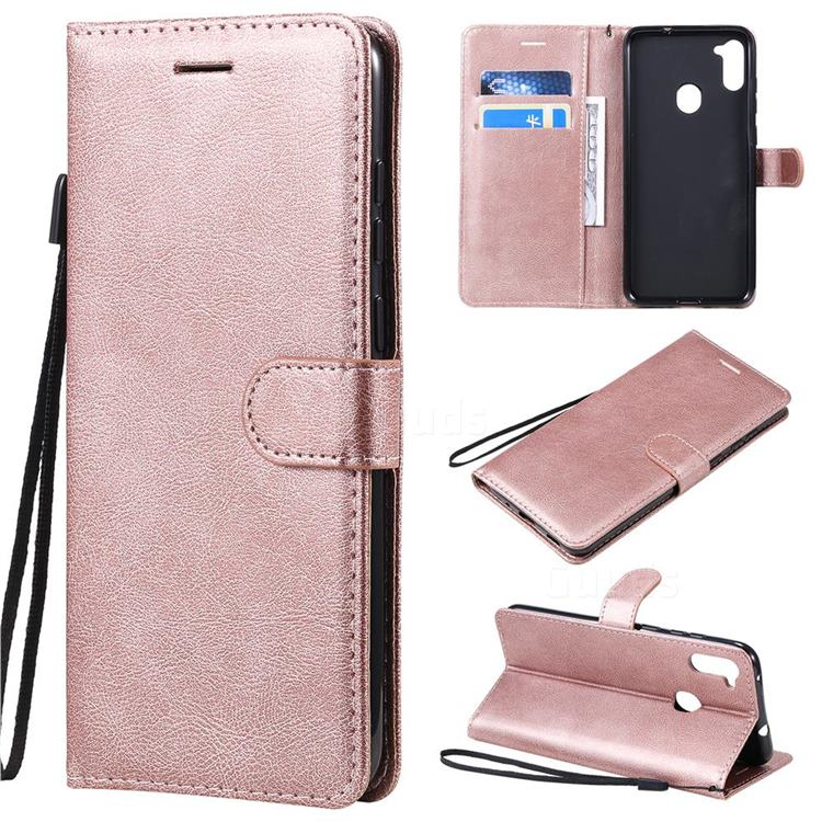 Retro Greek Classic Smooth PU Leather Wallet Phone Case for Samsung Galaxy A11 - Rose Gold