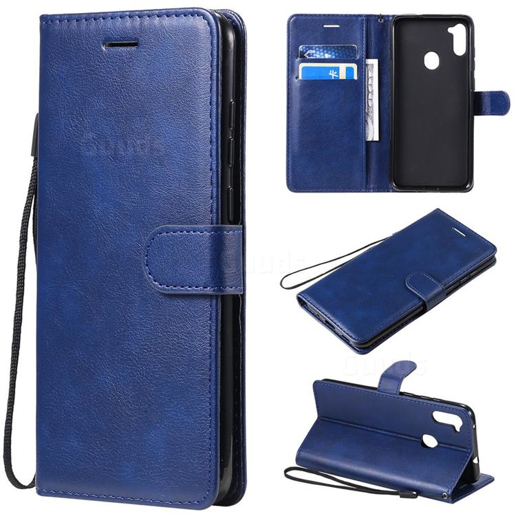 Retro Greek Classic Smooth PU Leather Wallet Phone Case for Samsung Galaxy A11 - Blue