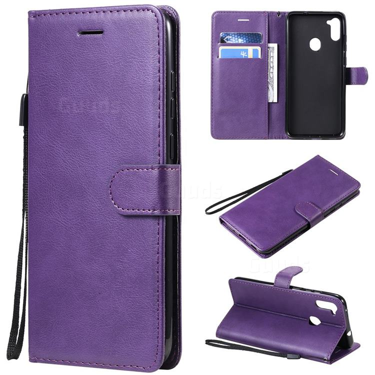 Retro Greek Classic Smooth PU Leather Wallet Phone Case for Samsung Galaxy A11 - Purple