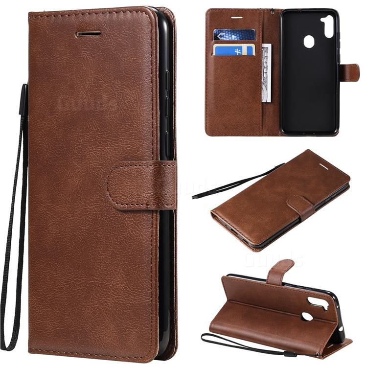 Retro Greek Classic Smooth PU Leather Wallet Phone Case for Samsung Galaxy A11 - Brown