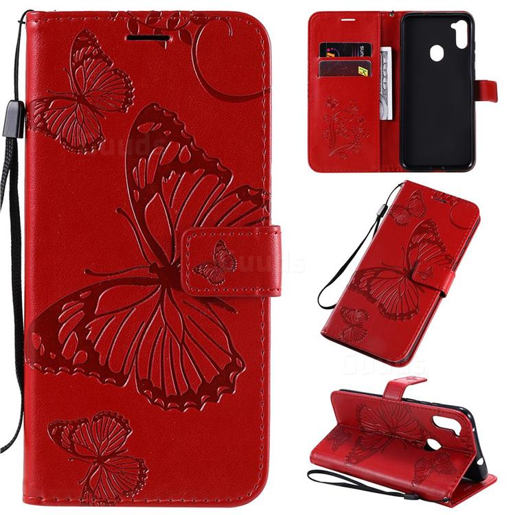 Embossing 3D Butterfly Leather Wallet Case for Samsung Galaxy A11 - Red