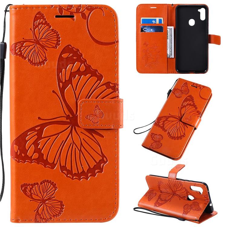 Embossing 3D Butterfly Leather Wallet Case for Samsung Galaxy A11 - Orange