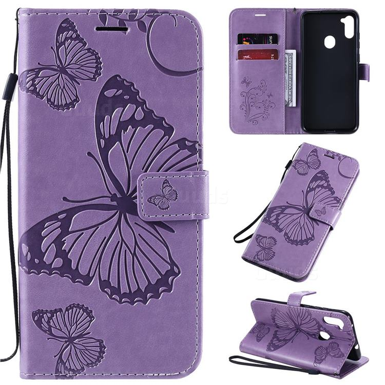 Embossing 3D Butterfly Leather Wallet Case for Samsung Galaxy A11 - Purple