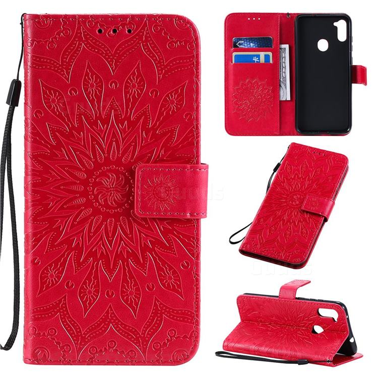 Embossing Sunflower Leather Wallet Case for Samsung Galaxy A11 - Red