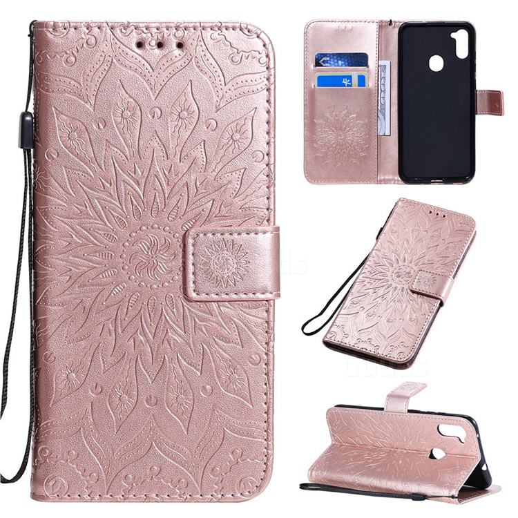 Embossing Sunflower Leather Wallet Case for Samsung Galaxy A11 - Rose Gold
