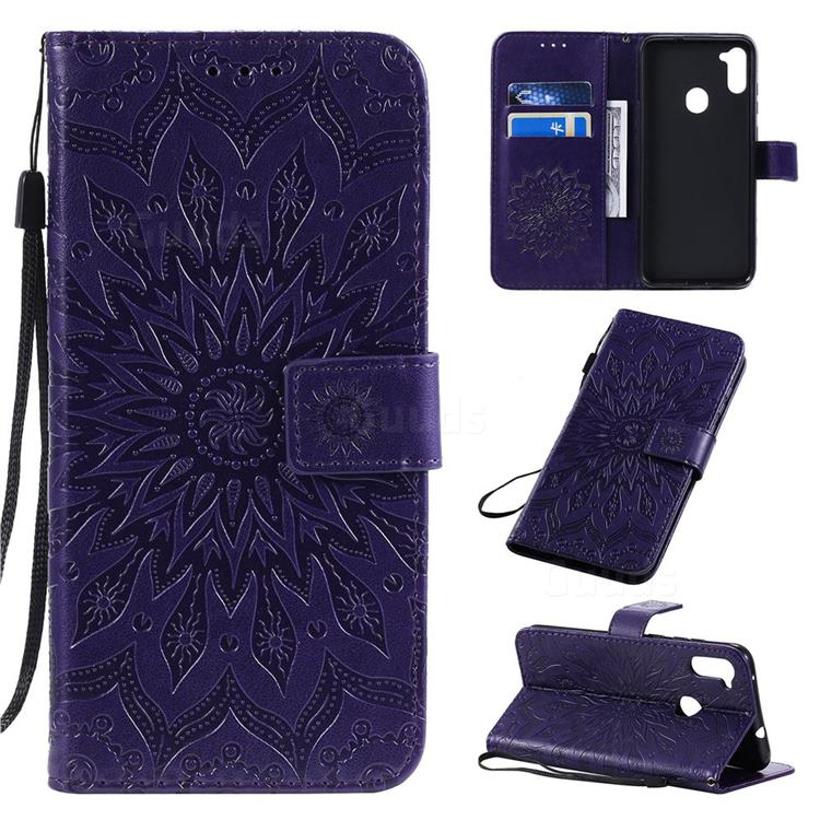 Embossing Sunflower Leather Wallet Case for Samsung Galaxy A11 - Purple
