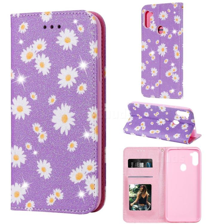 Ultra Slim Daisy Sparkle Glitter Powder Magnetic Leather Wallet Case for Samsung Galaxy A11 - Purple