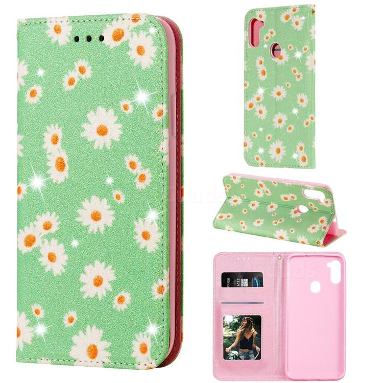 Ultra Slim Daisy Sparkle Glitter Powder Magnetic Leather Wallet Case for Samsung Galaxy A11 - Green