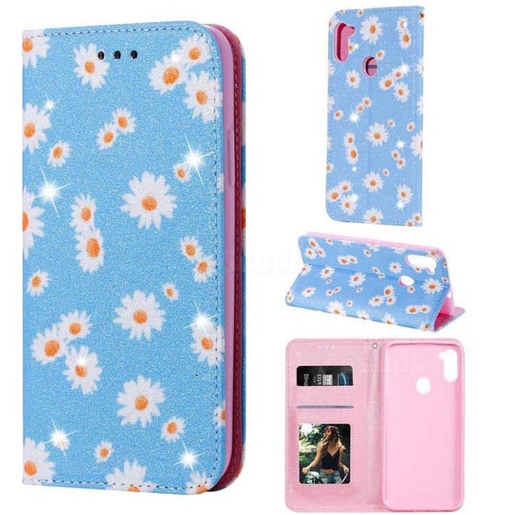 Ultra Slim Daisy Sparkle Glitter Powder Magnetic Leather Wallet Case for Samsung Galaxy A11 - Blue