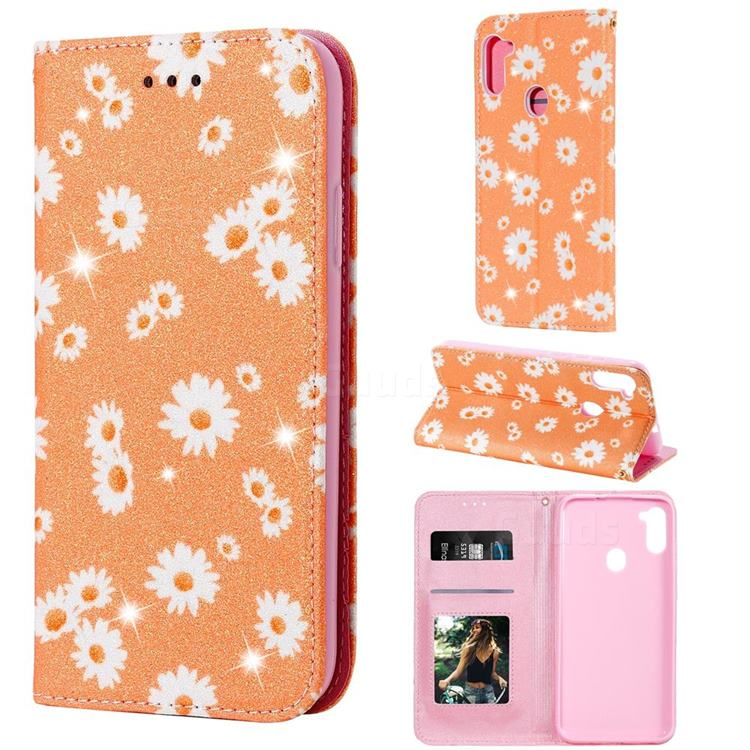 Ultra Slim Daisy Sparkle Glitter Powder Magnetic Leather Wallet Case for Samsung Galaxy A11 - Orange