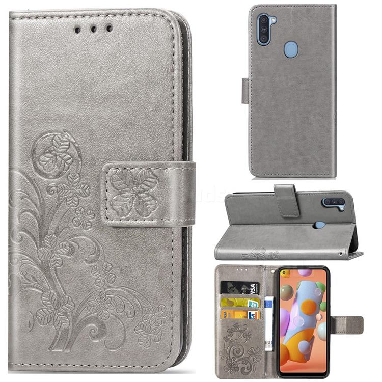 Embossing Imprint Four-Leaf Clover Leather Wallet Case for Samsung Galaxy A11 - Grey