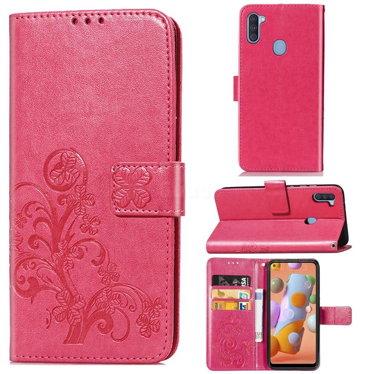 Embossing Imprint Four-Leaf Clover Leather Wallet Case for Samsung Galaxy A11 - Rose Red