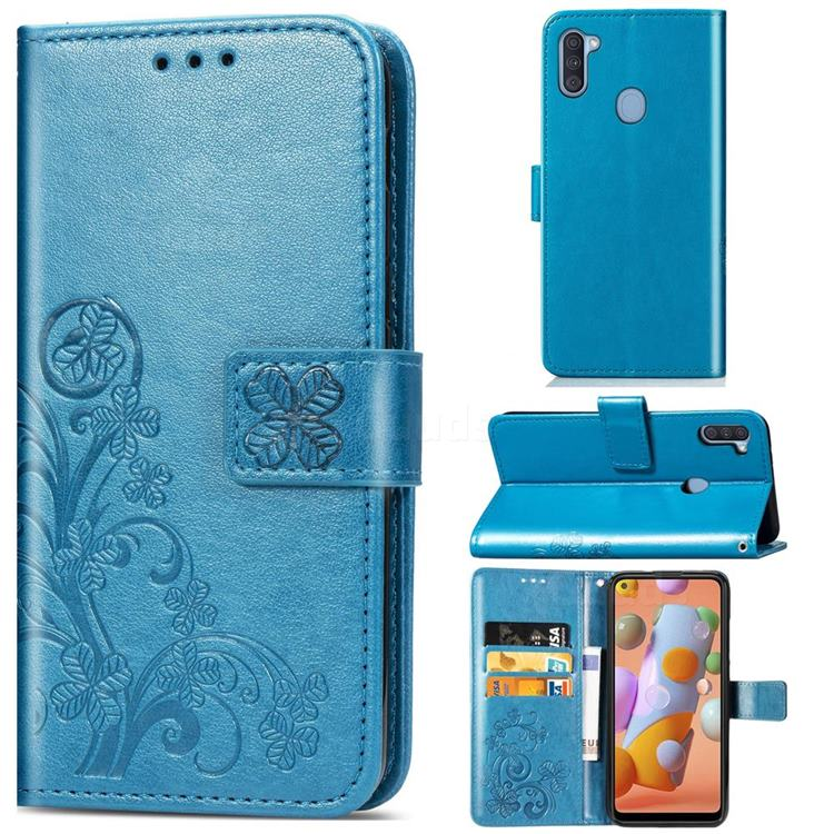 Embossing Imprint Four-Leaf Clover Leather Wallet Case for Samsung Galaxy A11 - Blue