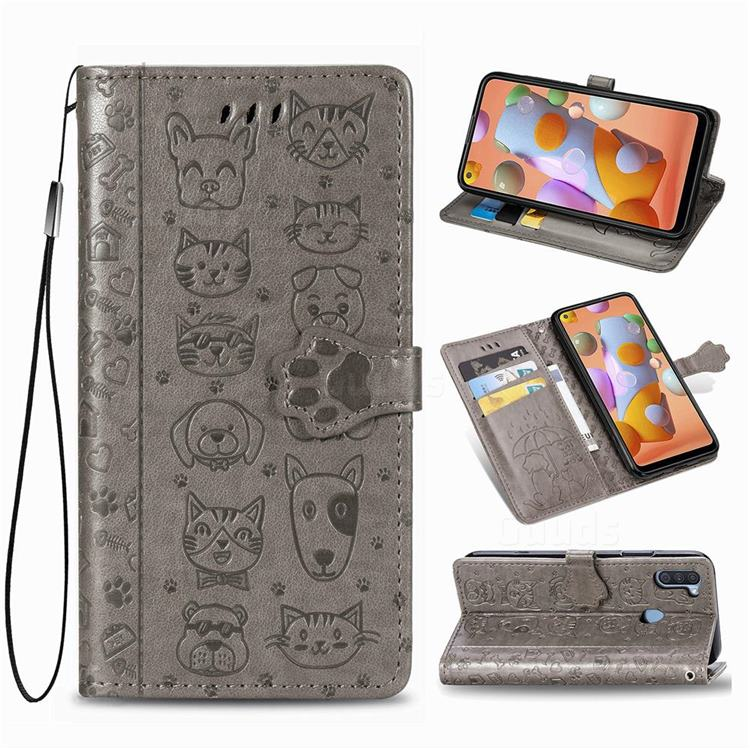 Embossing Dog Paw Kitten and Puppy Leather Wallet Case for Samsung Galaxy A11 - Gray