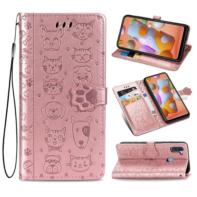 Embossing Dog Paw Kitten and Puppy Leather Wallet Case for Samsung Galaxy A11 - Rose Gold