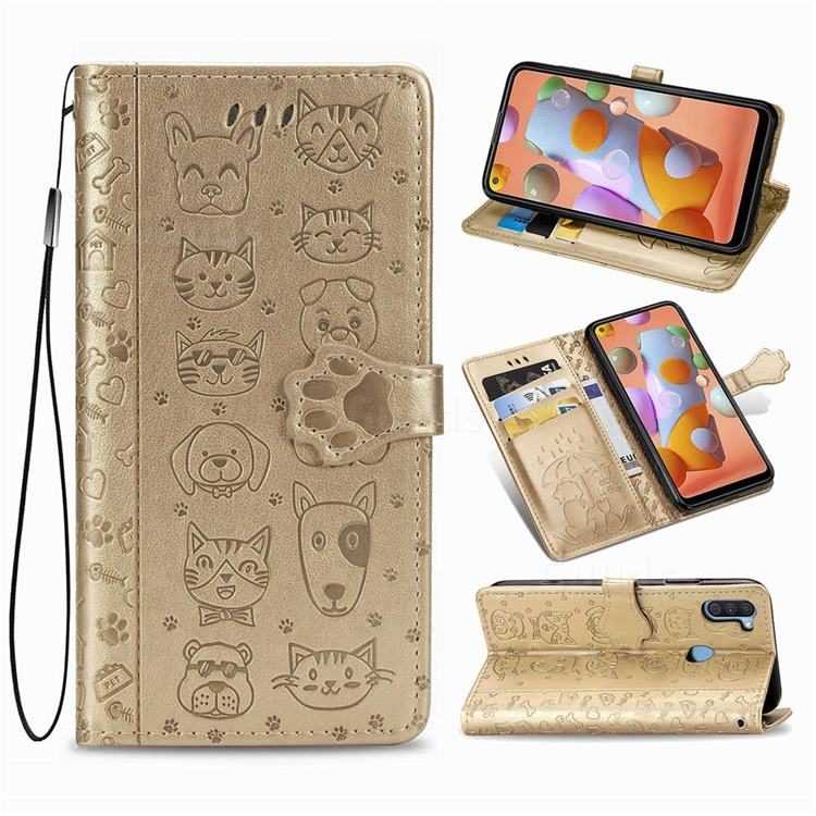 Embossing Dog Paw Kitten and Puppy Leather Wallet Case for Samsung Galaxy A11 - Champagne Gold