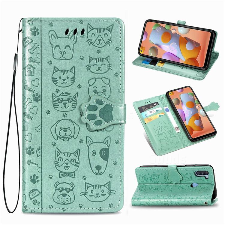 Embossing Dog Paw Kitten and Puppy Leather Wallet Case for Samsung Galaxy A11 - Green