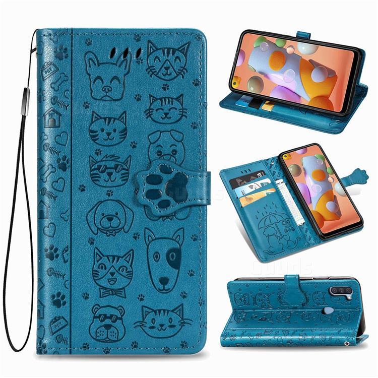 Embossing Dog Paw Kitten and Puppy Leather Wallet Case for Samsung Galaxy A11 - Blue