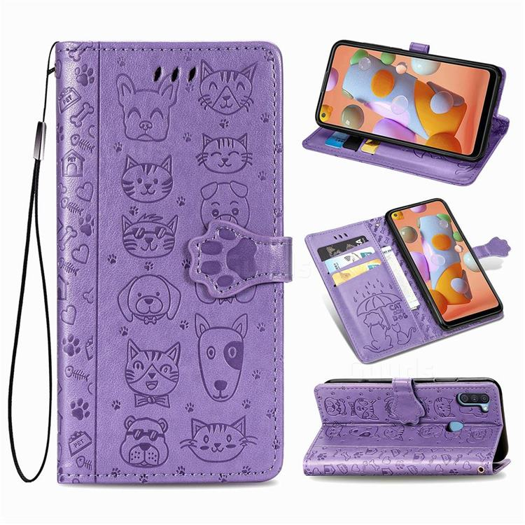 Embossing Dog Paw Kitten and Puppy Leather Wallet Case for Samsung Galaxy A11 - Purple